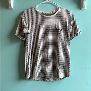 striped embroidered roxy tee